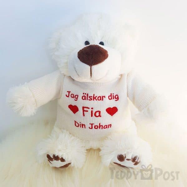 Vit nallebjörn med hjärta