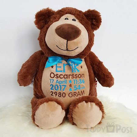 Brun nallebjörn med namn, personlig nalle