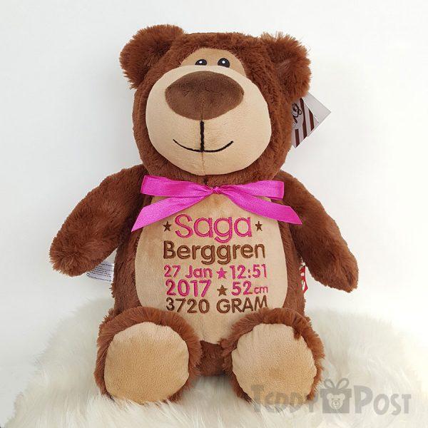 Brun Björn med rosa text, mjukisdjur