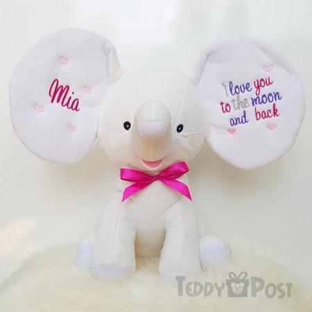 Mjukisdjur med namn Vit Elefant Cubby - TeddyPost - Personliga Presenter