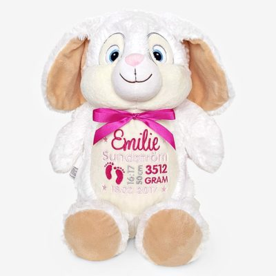 Vit kanin mjukisdjur med namn