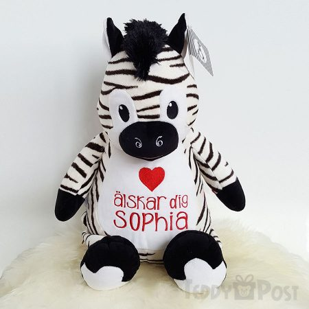 Mjukisdjur Zebra. Personligt mjukisdjur med namn