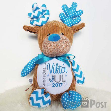 Mjukisdjur med namn - Blå Ren Cubby - TeddyPost - Personliga Presenter