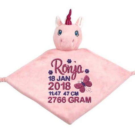 Rosa snuttefilt enhörning