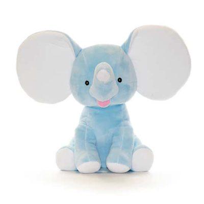 Blå elefant mjukisdjur med namn på örat