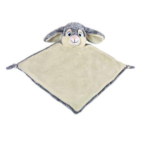 Grå kanin snuttefilt med namn