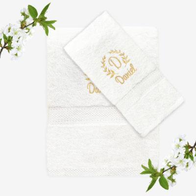 Vit handduk med namn