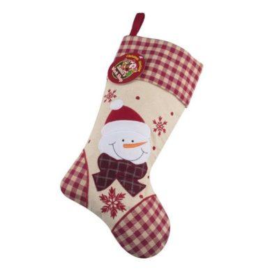 Rutig julstrumpa snögubbe