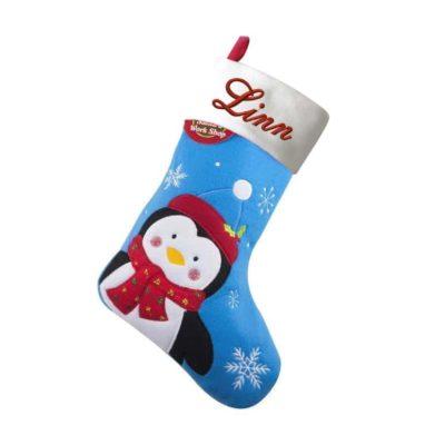 Julstrumpa pingvin med namn