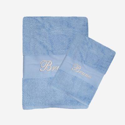 Babyblå handduk med namn