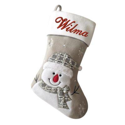 Julstrumpa med namn snögubbe, 45 cm