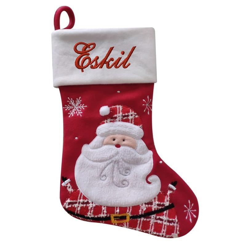 Julstrumpa röd och vit med röd tomte