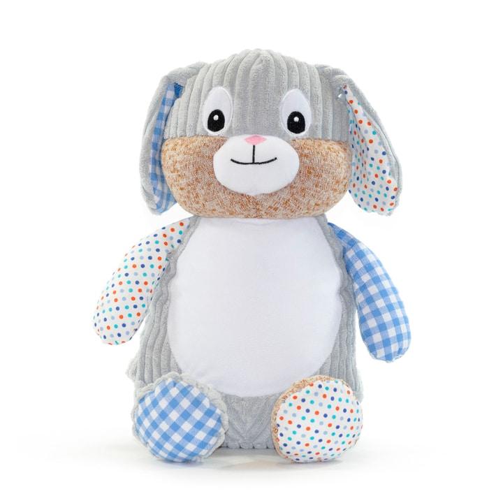 Blå kanin med prickar och namn
