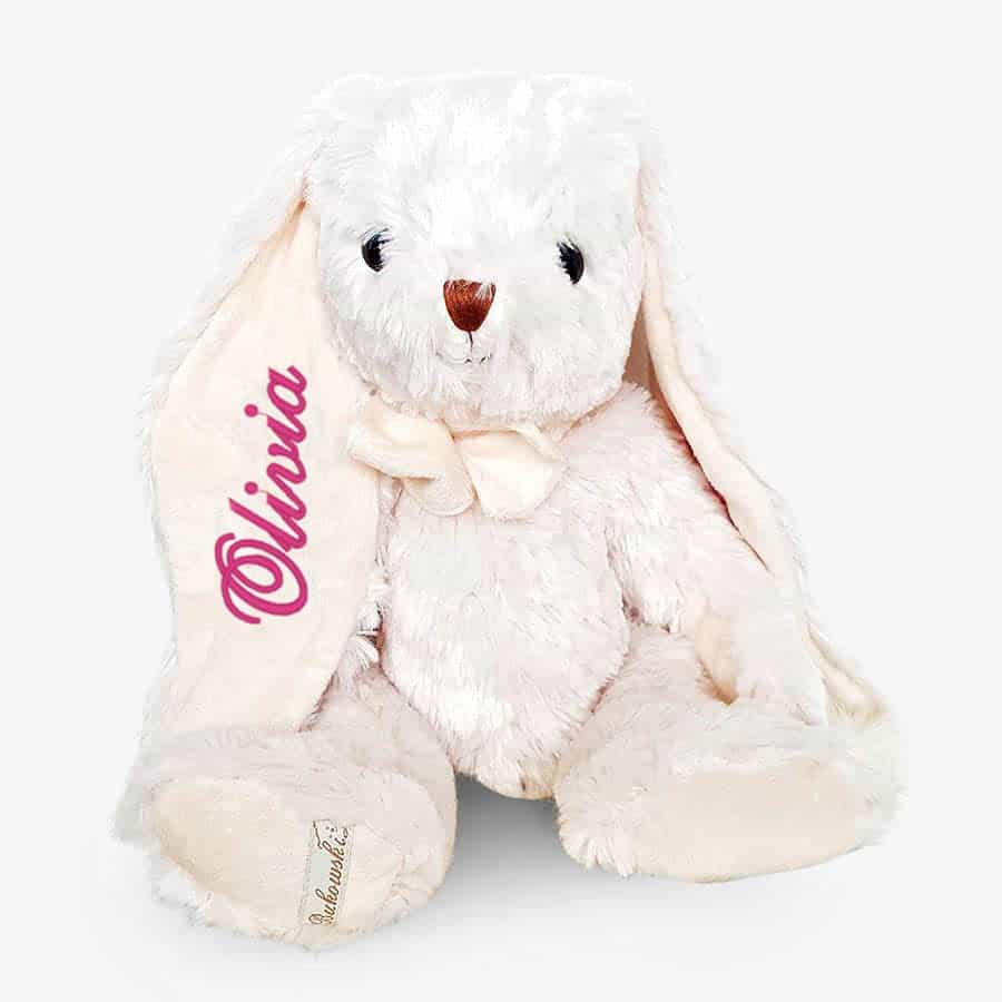 Vit kanin mjukisdjur med namn - Broderas på örat - TeddyPost