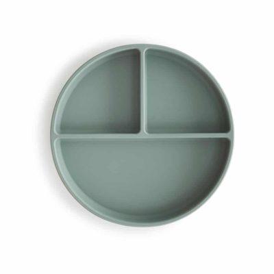 Silikontallrik cambridge blue mushie topp